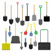 Shovel Vector Gardening Shoveling Equipment Spade Object Of Agriculture Work In Garden Illustration  poster