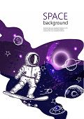 Space Background. Outline Astronaut, Planets, Satellites, Flying Saucers. An Astronaut Is Snowboardi poster