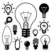set of light bulbs icons