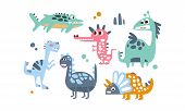 Cute Dinosaurs Set, Adorable Animals Childish Prints Vector Illustration poster