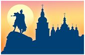 stock photo of hetman  - Silhouette of Saint Sophia Cathedral and monument to Bogdan Khmelnitsky in Kiev Ukraine - JPG