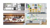 Kitchens Vector Illustration Set. Modern Home Kitchen, Studio With Dining Table, Chief Cooking In Re poster
