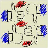 símbolos de las manos de arte dibujo de conjunto de vectores