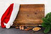Christmas Baking Background. Empty Cutting Board For Writing A Recipe Or Menu On Light Kitchen. poster