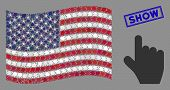 Pointer Finger Items Are Organized Into American Flag Stylization With Blue Rectangle Grunge Stamp S poster