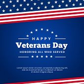 Happy Veterans Day Honoring All Who Served Celebration Poster Background Vector Design With Usa Amer poster