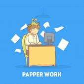 Procrastinating Office Worker Sitting At His Desk With Papers Flying Around Him, Procrastination And poster