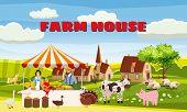 Farm House Farmer Family Sell Harvest Products Grocery On Eco Farm Organic. Farm Animals Goose, Turk poster