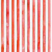 Watercolor Stripe Seamless Pattern. Red Colored Stripes On White Background. Watercolour Hand Drawn  poster