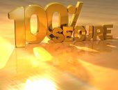 3D 100 Percent Secure Gold Text