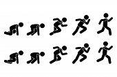 Stick Figure Runner Sprinter Sequence Icon Vector Pictogram. Low Start Speeding Man Sign Symbol Post poster