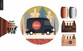 Brewery, Craft Beer Pub - Small Business Graphics - Delivery Van And Some Beer - Modern Flat Vector  poster