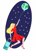 Vector Flat Illustration Woman Flying On Ball In Form Of Globe Of Earth. She Holds Luggage Bag. poster