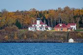 Raspberry Island Lighthouse In Wisconsin On Lake Superior In The Apostle Islands National Lakeshore poster