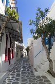 parikia street in greek island Paros