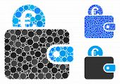 Euro Wallet Composition Of Round Dots In Variable Sizes And Color Tones, Based On Euro Wallet Icon.  poster