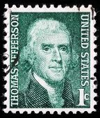USA - CIRCA 1950: A stamp shows image portrait Thomas Jefferson was the third President of the Unite
