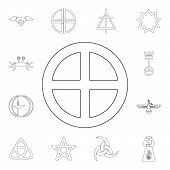 Religion Symbol, Paganism Outline Icon. Element Of Religion Symbol Illustration. Signs And Symbols I poster