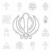 Religion Symbol, Sikhism Outline Icon. Element Of Religion Symbol Illustration. Signs And Symbols Ic poster