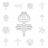 Religion Symbol, Shiva Outline Icon. Element Of Religion Symbol Illustration. Signs And Symbols Icon poster
