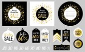 Abstract Printable Colorful Tags Collection For Christmas Sale. Vector Illustration. Set Of Cards An poster