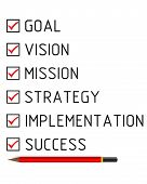 Goal, Vision, Mission, Strategy, Implementation, Success. List With The Check Marks. Business Plan:  poster