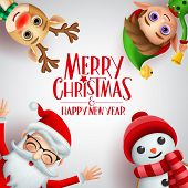 Merry Christmas Greeting Vector Background Template. Merry Christmas And Happy New Year Text With Sa poster