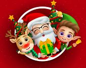 Christmas Holiday Season Characters Vector Background Design. Christmas Characters Of Cute Santa Cla poster