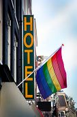 stock photo of transgendered  - Hotel with The Rainbow Flag  - JPG