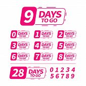 Number Days Left To Go, Badges Or Sticker Design. Countdown Banner. Count Time Sale. Nine, Eight, Se poster