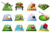 3d Playgrounds With Equipment For Different Kinds Of Sports Isolated Icon Set, Soccer, Table Tennis, poster