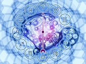 image of ares  - Backdrop composed of Zodiac symbols gears lights and abstract design elements - JPG