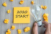 2020 Start Words On Yellow Note And Crumbled Paper With Businessman Holding Lightbulb On Wooden Tabl poster