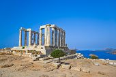 stock photo of poseidon  - Poseidon Temple at Cape Sounion near Athens Greece  - JPG