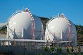 Two Liquefied Gas Storage Tanks. Lng/lpg Storage Plant. poster