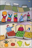 Fruit and vegetable vendor scene