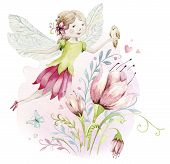 Cute Fairy Character Watercolor Illustration On White Background. Magic Fantasy Cartoon Pink Fairyta poster