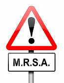 pic of mrsa  - Illustration depicting a red and white triangular warning sign with a  - JPG