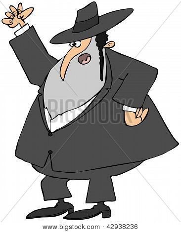 Picture or Photo of This illustration depicts a mad Jewish Rabbi shaking his fist.