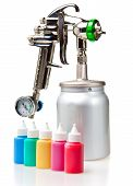 New metal brilliant Spray gun and small bottles with color