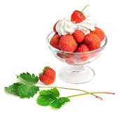 Strawberries and cream in bowl isolated on white background
