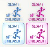 coltish slow children with toy icon in pink and blue