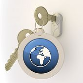 Unlocked locked world icon on key pendant