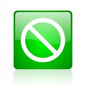 access denied green square web icon on white background