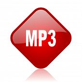 mp3 red square glossy web icon