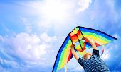 stock photo of kites  - Happy little boy flies a kite in the sunny sky - JPG