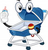 Illustration of a Mascot Baby Stroller holding a Feeding Bottle on one hand and a Baby Rattle on the