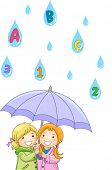 Illustration of Kids under an umbrella while Raining ABC's and 123's