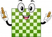 Illustration of Chess Board Mascot holding King and Pawn Chess Pieces