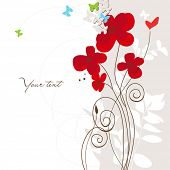 Spring floral greeting card with butterflies and heart